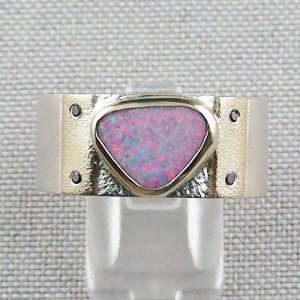 Opalring, 12,48 gr Goldring Silberring mit White Opal 1,66 ct