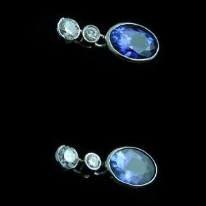 4.11 gr tanzanite earrings ear studs 18k white gold and diamonds, pic4