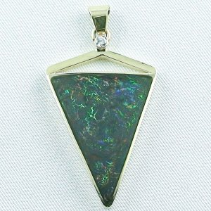8.71 gr. gold pendant with 11.87 ct Boulder Opal + Diamond, pic1