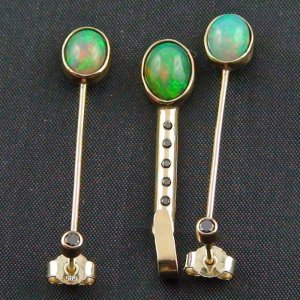 Opal earrings gold pendant 14k with 3,00 ct opals and diamonds, pic3