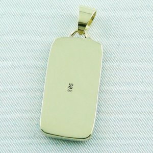 4.41 gr opalpendant, gold pendant 14k with white opal 7.20 ct, pic7