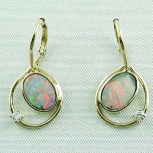 4.30 gr. opal earring, earrings 14k gold, 2.85 ct boulder opals