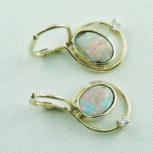4,30 gr. opal earring, earrings 14k gold, boulder opals, diamond, pic4