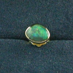 1,08 gr Ohrstecker, Herren Ohrring 18k Gold, 0,41 ct Black Opal