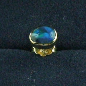 1,19 gr Ohrstecker, Herren Ohrring 18k Gold, 0,66 ct Black Opal