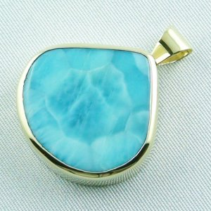 12.93 gr. gold pendant with 42.34 ct larimar gemstone, pic2