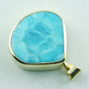 12.93 gr. gold pendant with 42.34 ct larimar gemstone, pic3