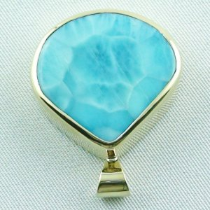12.93 gr. gold pendant with 42.34 ct larimar gemstone, pic4