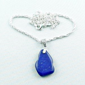 Silver pendant with lapis lazuli + silver necklace total 8.20 gr.