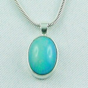 Sterling Silber Anhänger mit 4,19 ct Top Welo Opal u. Kette