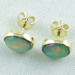 Opal-Ohrstecker / Gold-Ohrringe 750 / 18k mit zus. 3,45 ct Top Welo Opalen