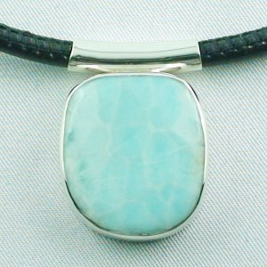 12.66 grams. Larimar pendant, silver pendant 935, leather necklace, pic1