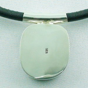 12.66 grams. Larimar pendant, silver pendant 935, leather necklace, pic2