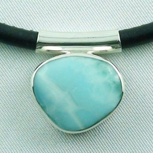 7.23 gr Larimar pendant 17.03 ct, silver 935, necklace