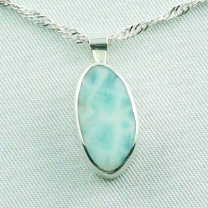 3.23 gr. larimar pendant 6,45 ct, silver 935, necklace