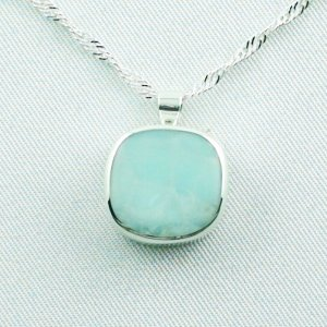 4.72 gr larimar pendant 11.58 ct, silver 935, necklace