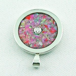 3.62 gr Opal Inlay Pendant hot pink and diamond, pic4