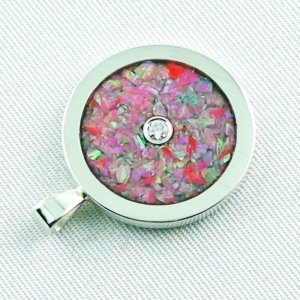 3.62 gr Opal Inlay Pendant hot pink and diamond, pic5