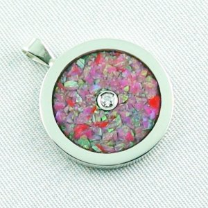 3.62 gr Opal Inlay Pendant hot pink and diamond, pic6