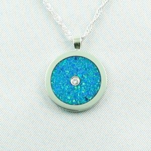 3.66 gr Opal Inlay Pendant ocean blue and diamond, pic1