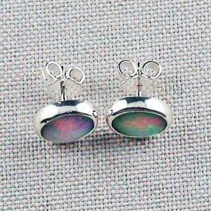 2.34 gr ear studs, 935 silver earrings, 2.04 ct welo opals