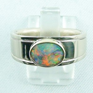 13,64 gr Opal ring, 18k white gold, women's ring, blackcrystalopal