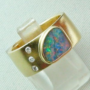 opalring, 18k goldring, ladies ring with boulder opal and diamonds, pic5