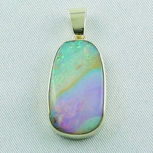 6.66 gr Opalpendant, Gold Pendant 14k with Boulder Pipe Opal, pic1