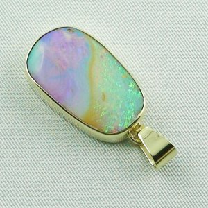 6.66 gr Opalpendant, Gold Pendant 14k with Boulder Pipe Opal, pic3