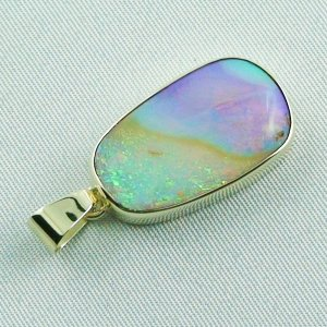 6.66 gr Opalpendant, Gold Pendant 14k with Boulder Pipe Opal, pic4