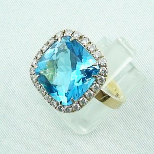 8,60 gr Goldring 18k, Blautopas Ring mit Diamanten, Damenring