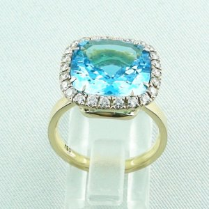8,60 gr Goldring 18k, blue topaz ring with diamonds, ladies ring, pic3
