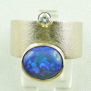 18,74 gr opalring 18k white gold ladies ring blackcrystalopal diamond, pic1