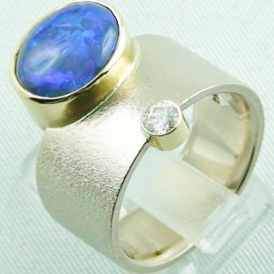 18,74 gr opalring 18k white gold ladies ring blackcrystalopal diamond, pic3