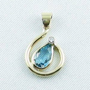 Gold pendant 18k with aquamarine and diamond