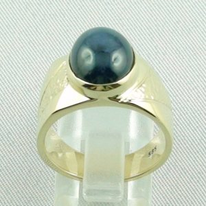 15.66 gr sapphirering, 14k goldring, man ring with star sapphire, pic4
