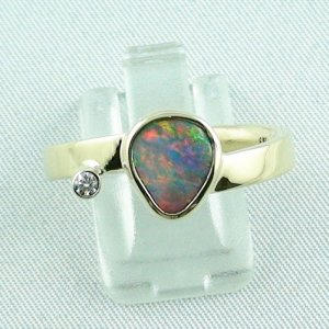 7,27 gr opalring, 14k goldring, ladies ring, black crystal opal and diamond, pic1