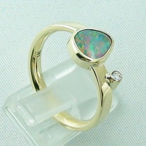7,27 gr opalring, 14k goldring, ladies ring, black crystal opal and diamond, pic5