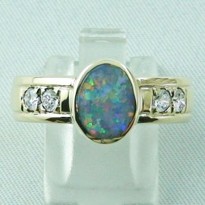 10,13 gr Opalring 14k Gold mit Semi Black Opal, Diamanten