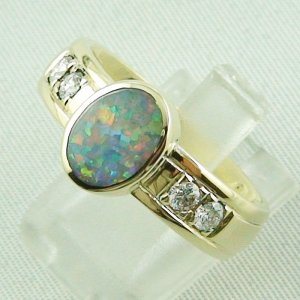 10.13 gr opalring, 14k goldring, ladies ring semi black opal and diamonds, 2