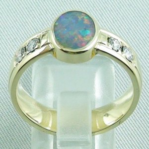 10.13 gr opalring, 14k goldring, ladies ring semi black opal and diamonds, 4