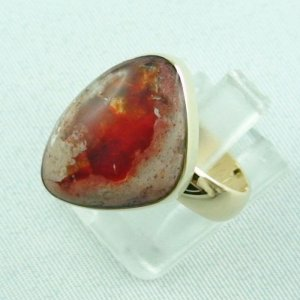 Opalring, 14k goldring, ladies ring with fire opal, pic2