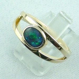 9.04 gr opalring, 18k goldring, ladies ring with black opal