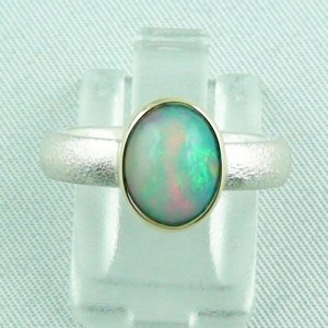 4.64 gr opalring, silverring with Welo opal 1.45 ct, ladies ring, pic1