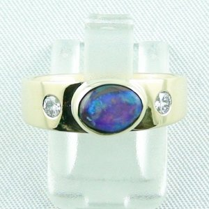 6.32 gr opalring, 14k goldring, ladies ring with boulder opal and diamonds, pic1