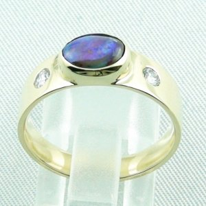 6.32 gr opalring, 14k goldring, ladies ring with boulder opal and diamonds, pic4