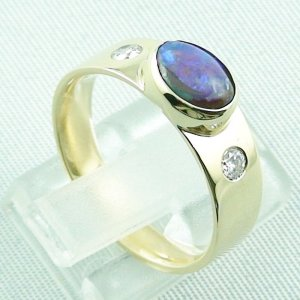 6.32 gr opalring, 14k goldring, ladies ring with boulder opal and diamonds, pic5