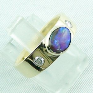 6.32 gr opalring, 14k goldring, ladies ring with boulder opal and diamonds, pic6