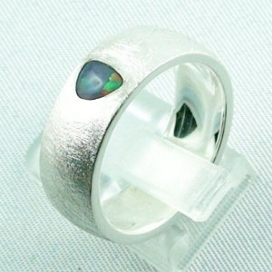 9.99 gr opalring, silverring with black opal 0,36 ct, men's ring 3