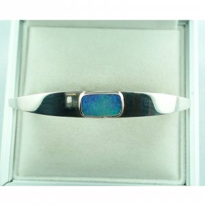 24,85 gr opalbangle, silver bangle with Black Crystal Opal 3,58 ct